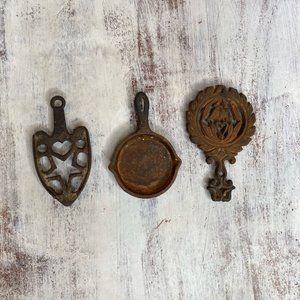 3 Vintage Iron Metal Wall Oranments